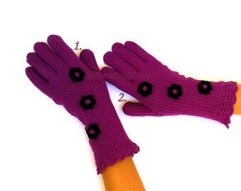 Purple Black Gloves with Fingers Hand Knitted Purple Black Women's Gloves Purple Girl's Gloves with Fingers Purple Women's Finger Gloves