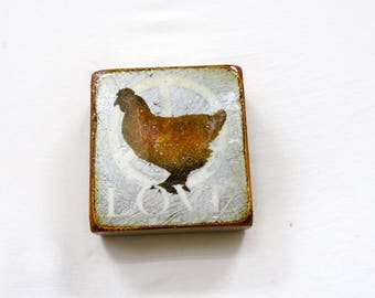 "Wee Antique Silver ""Little Orange Hen""LOVE""-Chicken Love,Vintage Silver/burnt orange,high gloss RESIN coated on solid, light spruce block."
