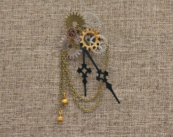 Steampunk Boutonniere lapel Pins with Gears and Clock Hands are the Perfect Accessories for Groomsmen and Groom of Your Steam Punk Wedding