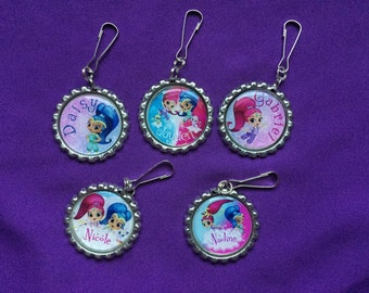 12 Personalized Shimmer and Shine Zipper Pulls, Party Favors
