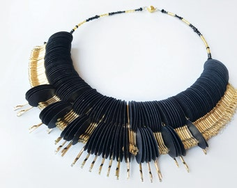 Ethnic Necklace black and gold, paper jewelry, fashion jewelry, statement jewel, first anniversary, gift for her