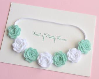 Baby Felt Flower Crown - Felt Headband - Mini White and Mint Flowers - Baby Flower Crown - Felt Flowers Headbad - Roses Headband