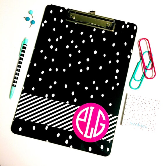 Monogrammed clipboard, Monogrammed School Supplies, polkadot clip board, Desk Accessories, cute office supplies, striped clipboard