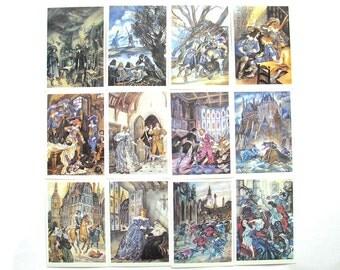 The Three Musketeers, Set of 32 Postcards, Alexandre Dumas, Illustration, Nepomnyaschy,  Soviet Postcard, USSR, 1987