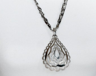 Silver Teardrop Pendant On Layered Chains - Big Pendant, Teardrop Necklace, Large Pendant, Chain Necklace, Openwork Pendant, Silver Jewelry