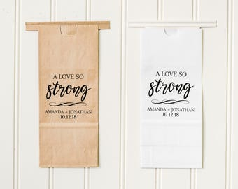 A Love So Strong Tin Tie Wedding Favor Bags - Coffee Favors, Treat Bags, Bridal Shower Favors