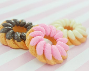 39mm Large Kawaii Donut Charm Decoden Cabochon - set of 3