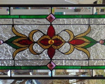Stained Glass Window Hanging 33 X 13