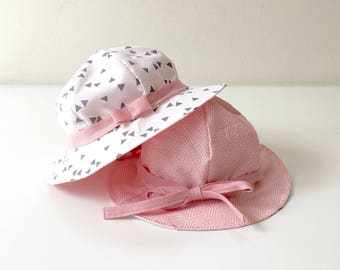 Baby or Toddler's Sun Hat - Reversible, to wear on Two Sides