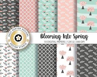 Blooming Into Spring, Digital Paper Pack, Digital Scrapbook Papers, Set of 10, Teal, Pink, Gray, Quatrefoil, Blooms, Instant Download