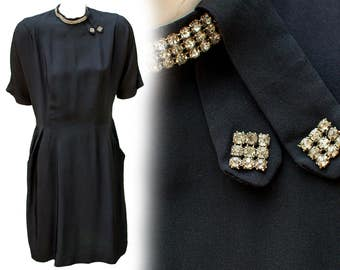 1950s Large Dress Curvy Mod Madmen Black Office Secretary Rockabilly Hipster Retro Plus Size Goth French Avant Garde Rhinestone High Collar