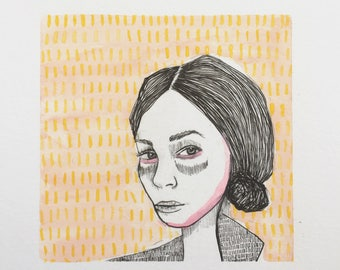 Original Illustration -  Pink & Yellow