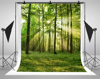 Spring Green Forest Trees Photography Backdrops Sunlight Photo Backgrounds for Children Studio Props J02555