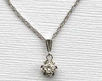 On Hold For Michelle   Please Do Not Purchase  Vintage Diamond Necklace   Buttercup Setting White Gold