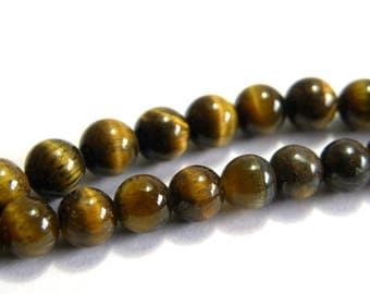 Round Tiger Eye Real Gemstone Beads 4 mm