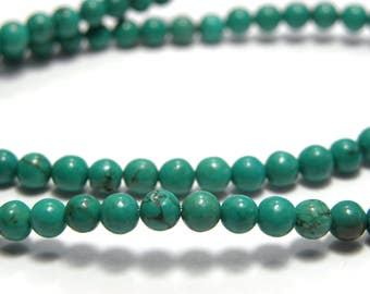 Round Turquoise Real Gemstone Beads 4mm