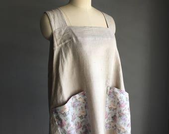 Handmade Linen Vintage Floral Crossback Pinafore Apron