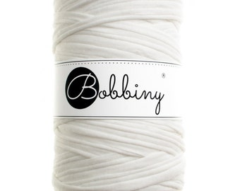 White tshirt yarn, fabric yarn, trapillo, recycled cotton 65yd (60m) long BB-0069