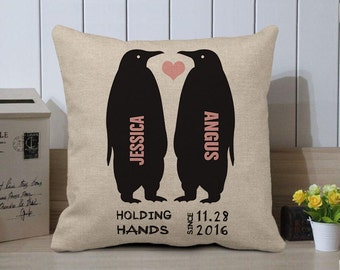 Personalized Penguins Cushion, Valentines Pillow Cover, Holding Hands Couples Pillow, Wedding Gift for Couple, Valentines Gift For Couple