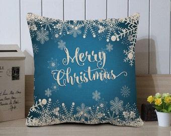 Merry Christmas Pillow Cover, Snowflakes Pillow Cover, Holiday Pillow Cover, Blue Pillow Cover, Burlap Pillow Cover, Christmas Decorations