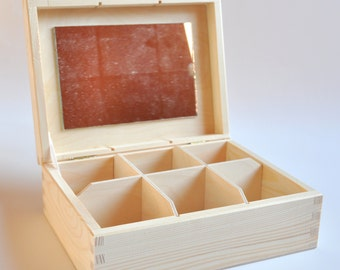 Wooden Box with Mirror and 6 Compartments. Jewelry Box. Unfinished Wooden Box.  #TR306