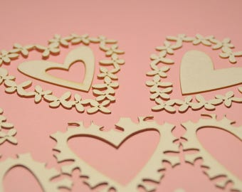 Hearts Die Cuts SET OF 10 pieces. Hearts Chipboard #1938