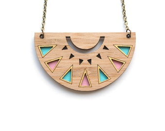 Wooden Necklace - Half Moon Layer Necklace - Wooden Geometric Necklace - Eco Friendly Necklace - Half Moon Necklace