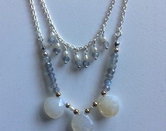 Chalcedony and Labradorite Tier Necklace