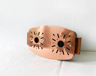 Antique copper warmer-tea coffee warmer-Vintage French Trivet-Hot Plate-Retro French Hot Plate-Vintage Teapot Warmer-Hot Plate-Copper Wood