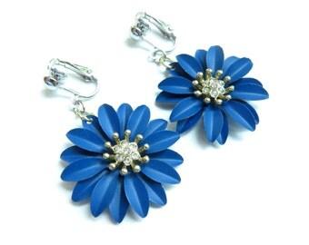 Navy Blue Flower Clip-On Earrings