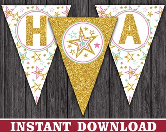 Twinkle Twinkle Little Star Happy Birthday Banner - Party Decorations - Printable Digital File - INSTANT DOWNLOAD