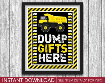 "Construction Party Sign - Printable Construction Birthday Party Decorations - 8""x10"" Gifts Sign - DIY Digital File"
