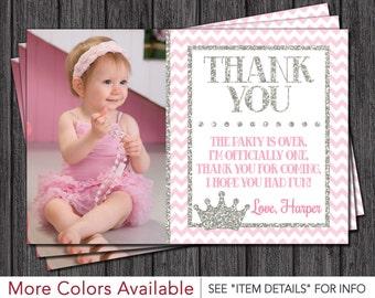 Princess Thank You Card - Princess, Pink and Silver, Birthday Thank You Card