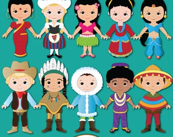Children of the World clipart PART 1, Children around the World, World Children, Global clipart, Children, Unity clipart, Ethnic  Kids
