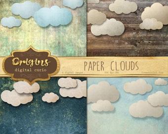Paper Clouds Backgrounds, Cloud Digital Paper, Digital Scrapbook Paper, printable photography photo backdrops, rustic vintage textures
