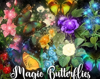 Magic Butterfly Clipart, glowing sparkle fantasy clip art, digital instant download vintage flower illustration, magical butterflies png