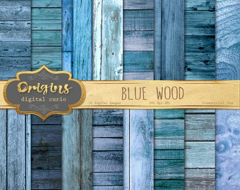 Blue Wood Digital Paper, rustic wood texture, wooden planks backgrounds, instant download commercial use distressed sea wood scrapbook paper