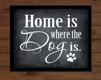 INSTANT DIGITAL DOWNLOAD - Dog Sign Dog Print Home Is Where The Dog Is Paw Prints Pet Lover Kennel Wall Art Gift Picture