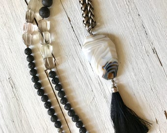 Black Starling - Long Statement Necklace with white and black Agate