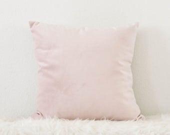 Decorative Pillow, Petal Pink Velvet Pillow, Blush Pink Pillow