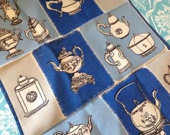 Vintage linen tea towel in blue, blue kitchen towel, retro kitchen, kitchen towel, NOS, unused kitchen towel, tea kettle towel