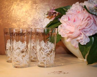Vintage Collectible mid- century modern  Federal Glass highball drinking glasses set of 4 White thistle with  gold leaves and vine.Madman