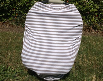 READY TO SHIP. Stretchy Car Seat Cover, Gray and White Stripes Stretchy Car Seat Cover, Stretchy Nursing Cover, 4 in 1 Car Seat Cover