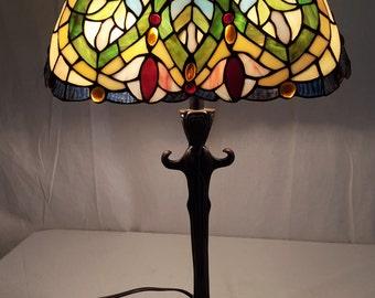 Vintage Unusual Kidney Shaped Leaded Glass Shade Lamp