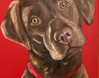 Chocolate Lab art print from original chocolate labrador canvas painting, canvas and paper options