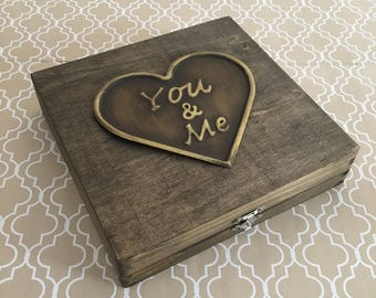 You and Me Metal Plate on Basswood Wooden Square Cigar Box Craft Box Jewelry Box Wedding Box Keepsake Box Marriage Box Memento Box