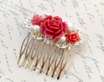 Comb Pretty Pink Roses And Pearls Hair Comb