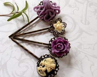 Ivory She Skull And Lavender  Octo And Floral Hair Clips