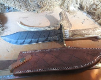 Damascus Bowie Knife with Elk Horn handles