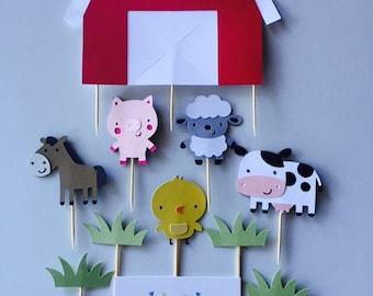 Handmade Cake Topper Set To Decorate A Large Cake - Farm Barnyard Theme x 1